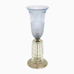 Lámpara Art Déco con pie tallado y tulipa azul