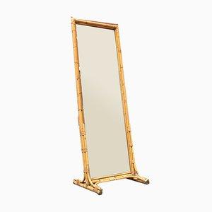 Italian Mid-Century Modern Rattan Mirror, 1960s