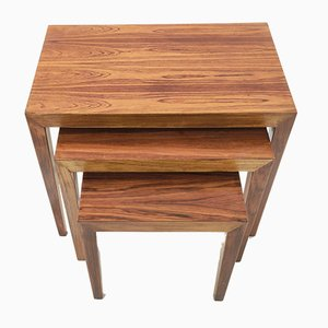 Rosewood Nesting Tables by Severin Hansen for Haslev Møbelsnedkeri, Set of 3