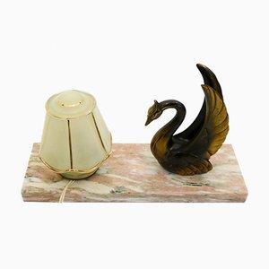 Art Deco Nachttischlampe aus Marmor mit Schwan-Dekor