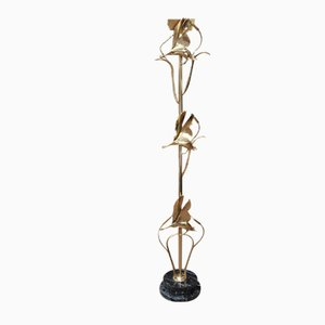 Brass Floor Lamp with Heron in Flight on Marble Base by L.Galeotti, 1970s