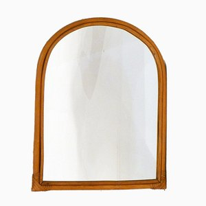 Rounded Rattan Wall Mirror