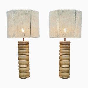 Lámpara de roble de Charles Dudouyt with New Lampshade, años 40