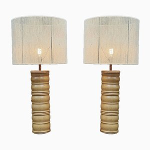 Oak Lamp by Charles Dudouyt with New Lampshade, 1940s