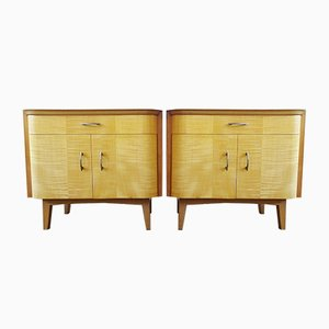 Mid-Century Bedside Set Veneer with Drawers and Cupboard, Set of 2