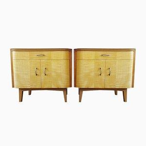 Mid-Century Nachttischfurnier mit Schubladen und Schrank, 2er Set