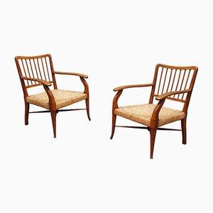 Armlehnstühle aus Holz und Seil von Paolo Buffa, 2er Set