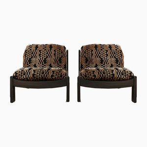 Mid-Century Canvas Armchairs, Set of 2