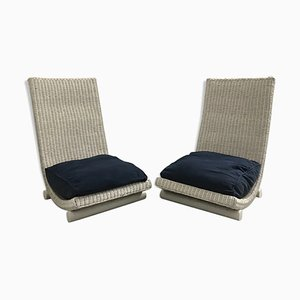 Wicker Lounge Chairs, 1970, Set of 2