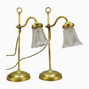 Lampade da tavolo vintage in ottone e vetro satinato, set di 2