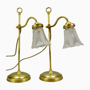Vintage Brass & Frosted Glass Table Lamps, Set of 2