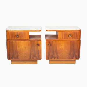 Walnut & Opaxit Glass Nightstands from Up Závody, 1950s, Set of 2