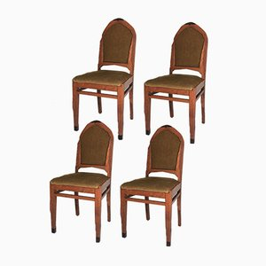 Art Deco Oak Chairs from Amsterdam School, 1920s, Set of 4
