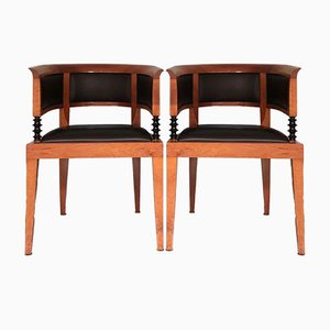 Modell 1991 Armlehnstühle aus Kirschholz von Leon Krier Giorgetti für Sella Magna, 2er Set