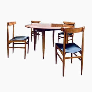 Table with 4 Chairs in Nordic Style, 1960s, Set of 5