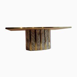Marmor & Messing Esstisch mit Marmor Intarsie Oberfläche