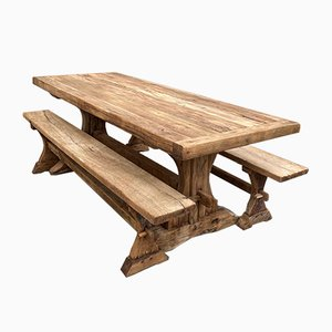 Farmhouse Table with 2 Benches, Set of 3