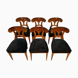 Biedermeier Shovel Chairs with Walnut Veneer, South Germany, 1860s, Set of 6