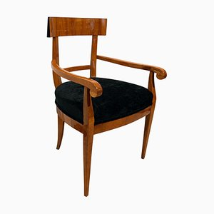 Biedermeier Armchair in Cherry Wood and Black Velvet, South Germany, 1830s