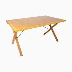 Mesa de centro o de comedor de madera clara de Mogens Koch, años 60