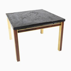 Coffee Table with Slate Plate and Frame of Gilded Metal and Rosewood from Bendixen