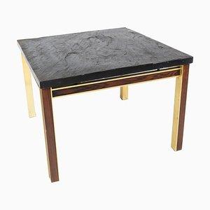 Mesa de centro con plato de pizarra y estructura de metal dorado y palisandro de Bendixen