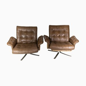 Armchairs Upholstered with Brown Leather of Danish Design, 1970s, Set of 2