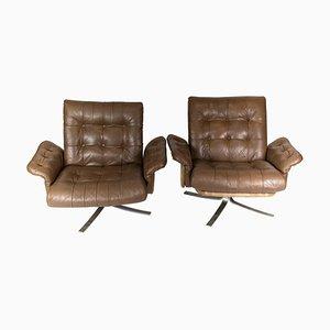 Armlehnstühle mit Bezug aus Braunem Leder von Danish Design, 1970er, 2er Set