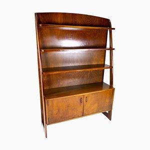 Danish Bookcase with Cabinet in Walnut, 1950s