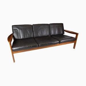 Teak Three Seater Sofa Upholstered with Black Leather by Arne Vodder for Komfort
