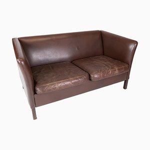 Dänisches 2-Sitzer Sofa mit Bezug aus dunkelbraunem Leder, 1960er