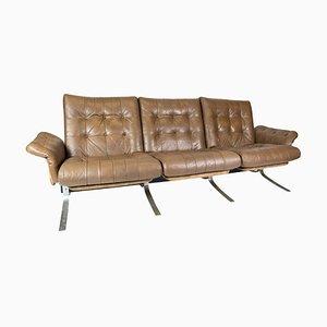 Sofá de tres plazas danés con tapicería de cuero marrón claro, años 70