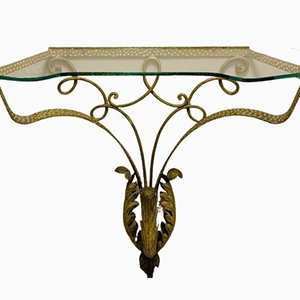 Colli Golden Wrought Iron Console Table, 1950s
