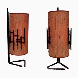 Italian Metal Framed Table Lamps, 1950s, Set of 2