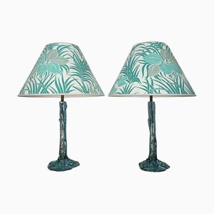 Turquoise Resin Table Lamps, 1970s, Set of 2