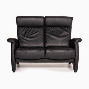 ErgoLine Black Leather Sofa from Himolla