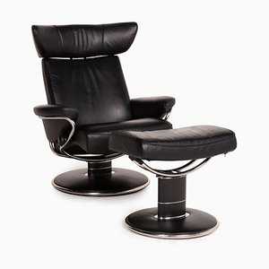 Jazz Black Leather Armchair and Stool from Stressless, Set of 2