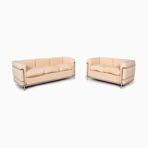 LC 4 Le Corbusier Beige Sofa Set from Cassina, Set of 2