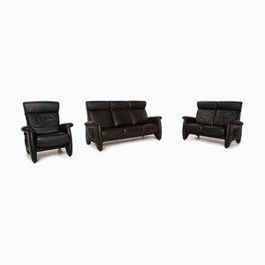 ErgoLine Black Leather Sofa Set from Himolla, Set of 3