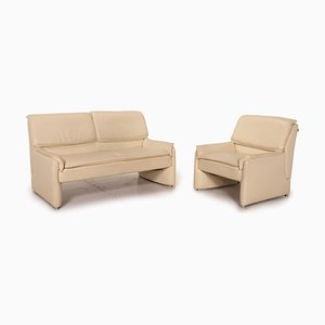 Cream Leather Sofa Set from Laauser, Set of 2