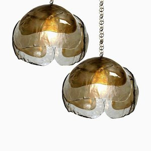 Lámparas colgantes estilo Kalmar de latón y vidrio ahumado, años 70. Juego de 2