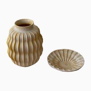 Art Deco Set mit Vase und Tablett von Upsala-Ekeby, 1930er, 2er Set
