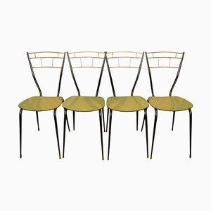 Italienische Mid-Century Esszimmerstühle mit Laminat Sitzen, 4er Set