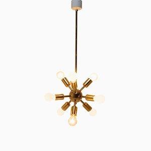 Pace Age Messing Sputnik Kronleuchter mit Zehn Leuchten, 1960er