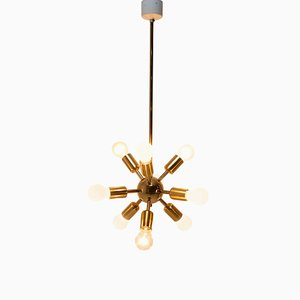 pace Age Ten Arm Brass Sputnik Chandelier, 1960s