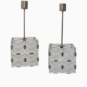 Glass and Chromed Steel Pendant Lamp from Kamenický Šenov, 1970s