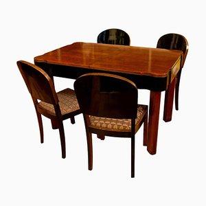 German Art Deco Oak Dining Set, 1930s, Set of 5