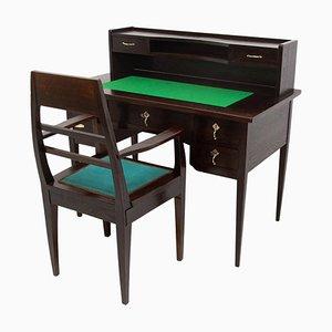 Wiener Secession Schreibtisch mit Armlehnstuhl, 20. Jh., 2er Set
