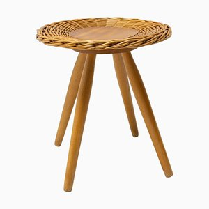 Mid-Century Rattan Stool by Jan Kalous for ÚLUV, 1960s, Czechoslovakia