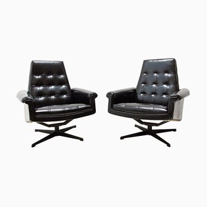Leather Swivel Armchairs from UP Zavody, 1970s, Set of 2